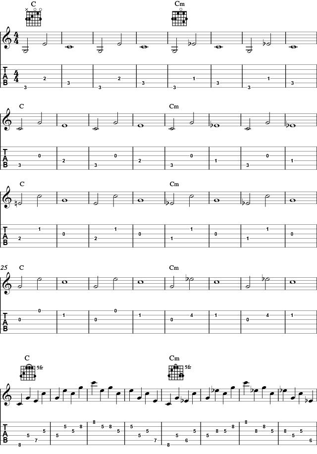 Brutte treklanger utfra to forskjellige arpeggioer for akkordene C og Cm